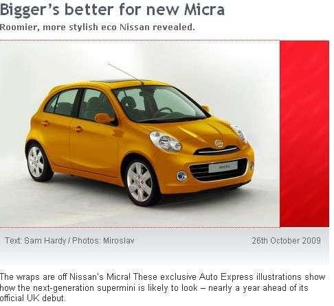 Nowy Nissan Micra wedlug Auto Express 2009