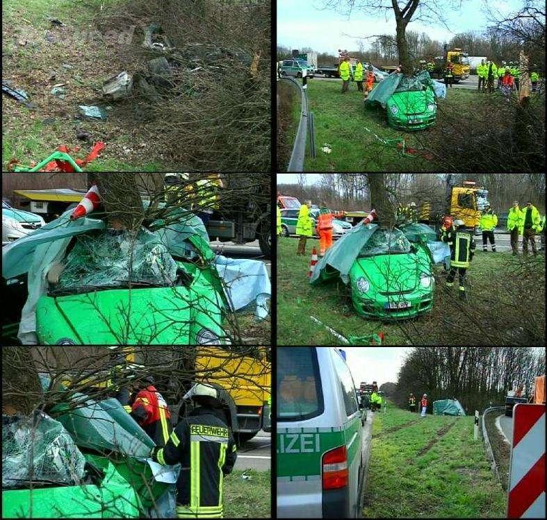 Porsche 911 GT3 crash zgon marzec 2010