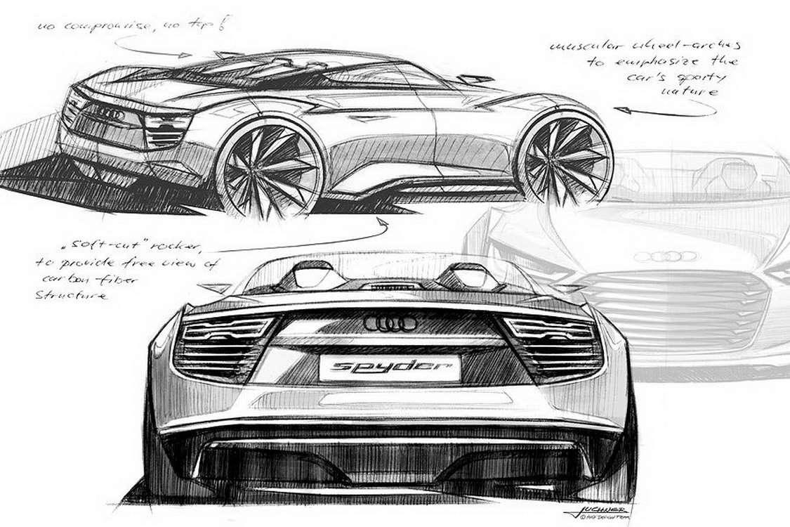 Audi e-tron Spyder Concept szkice wrzesien 2010