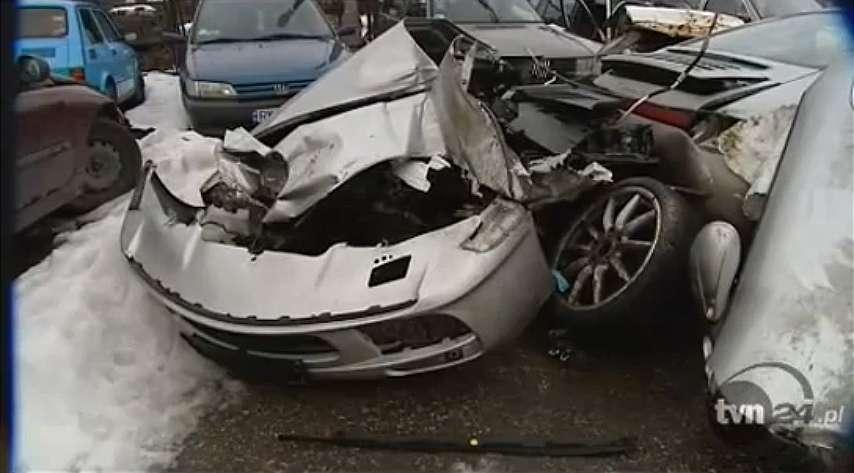 Wypadek Porsche 911 Carrera 4 w Krakowie fot styczen 2011