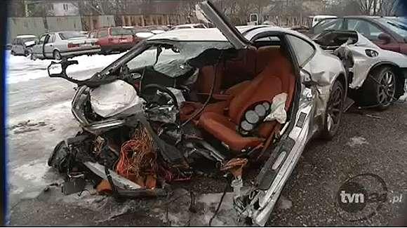 Wypadek Porsche 911 Carrera 4 w Krakowie
