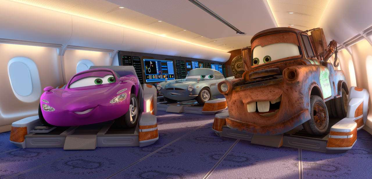 """CARS 2""  (L-R) Holley Shiftwell, Finn McMissile, Mater  ©Disney/Pixar.  All Rights Reserved."