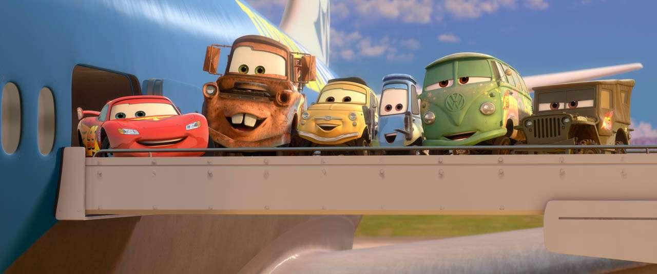 """CARS 2"" (L-R) Lightning McQueen, Mater, Luigi, Guido, Fillmore, Sarge ©Disney/Pixar. All Rights Reserved."