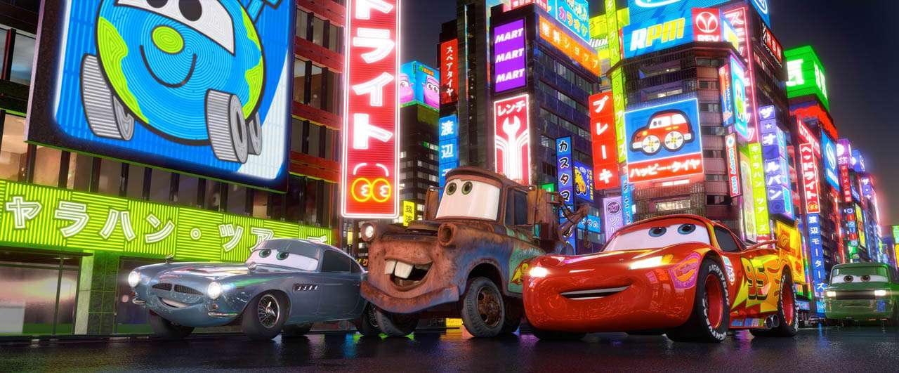 """CARS 2""  (L-R) Finn McMissile, Mater, Lightning McQueen  ©Disney/Pixar.  All Rights Reserved."