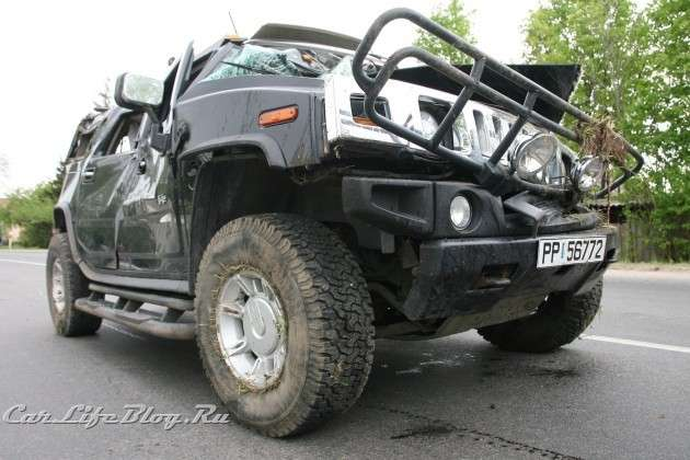 Hummer H2 crash in litwa drunk woman maj 2011