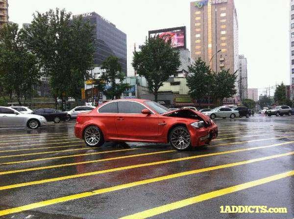 BMW 1 M Coupe crash lipiec 2011