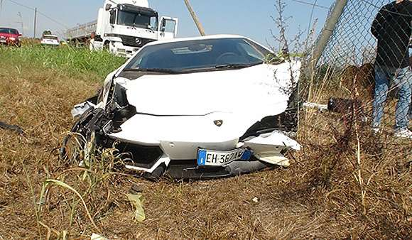 Aventador first crash wrzesien 2011