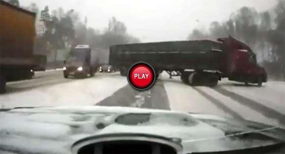 Ciężarówka na śniegu: utrata kontroli