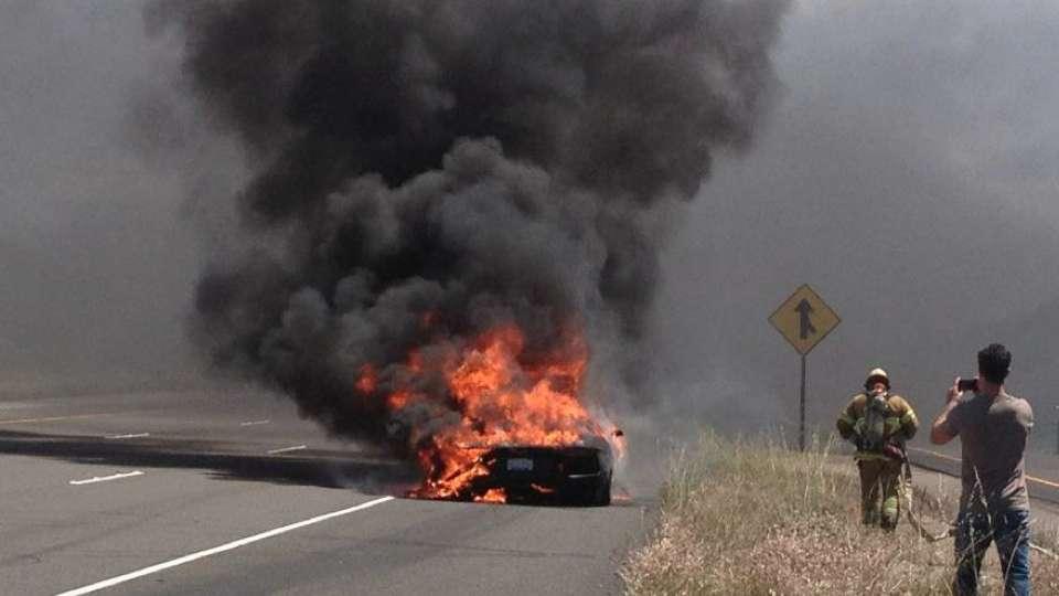Lamborghini Aventador spłonęło fire