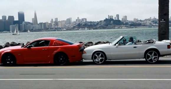 Ford Mustang vs Mustang GT vs Corvette crash
