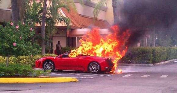 Ferrari spłonęło