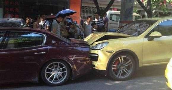 Porsche Maserati crash wypadek