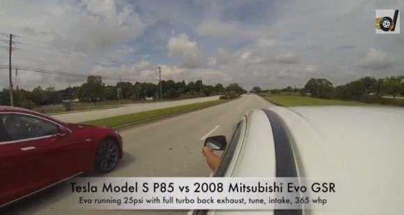 Tesla Model S vs Mitsubishi EVO