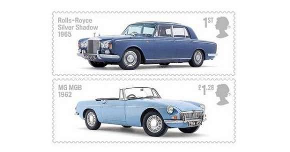 Samochód na znaczkach pocztowych