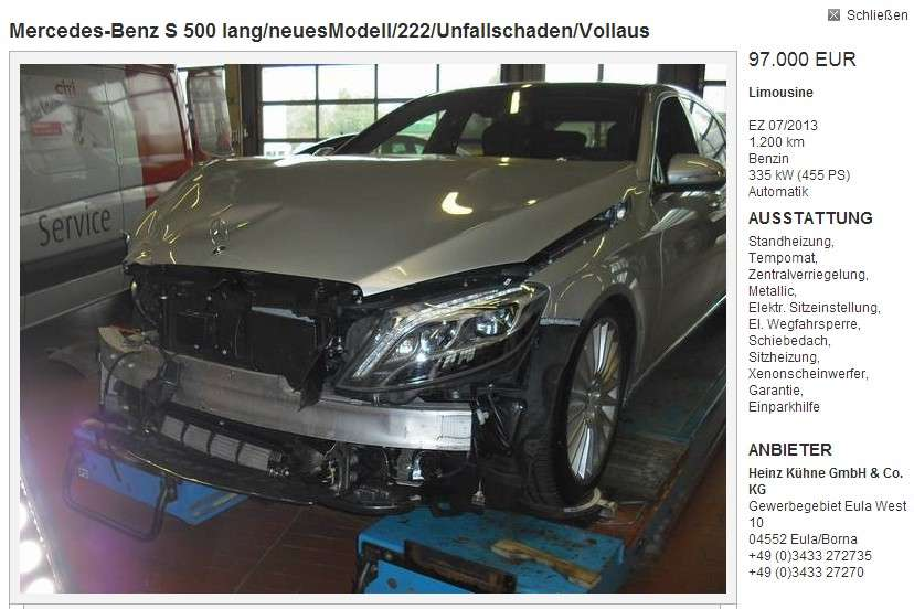 Mercedes S W222 crash