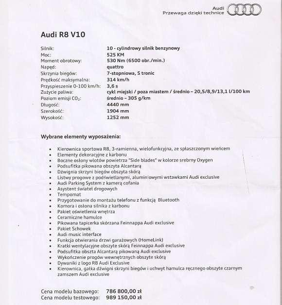 Audi R8 V10 dane techniczne