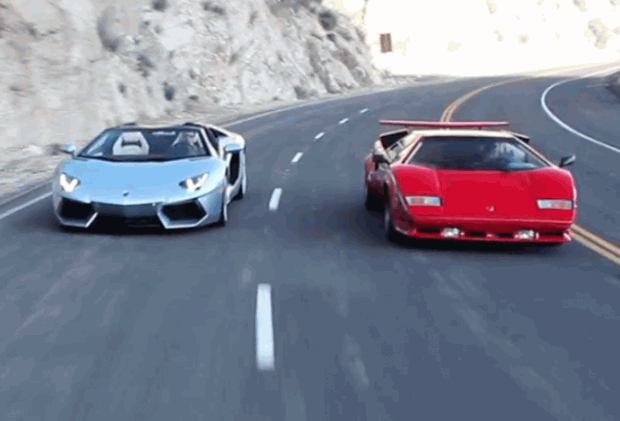 lamborghini countach vs aventador roadster wideo. Black Bedroom Furniture Sets. Home Design Ideas