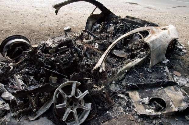 Aston Martin V8 melted