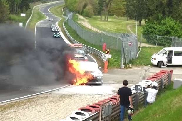 Nissan GT-R fire Nurburgring