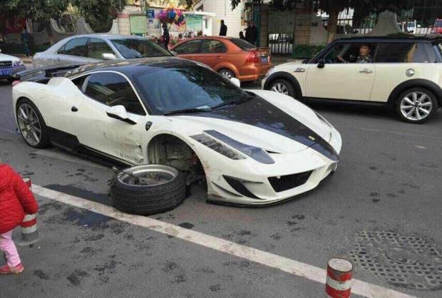 Ferrari 458 Siracusa crash