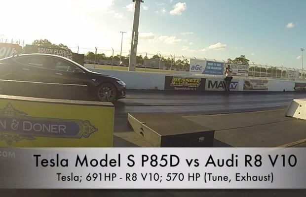 Tesla Model S P85D vs. Audi R8 V10