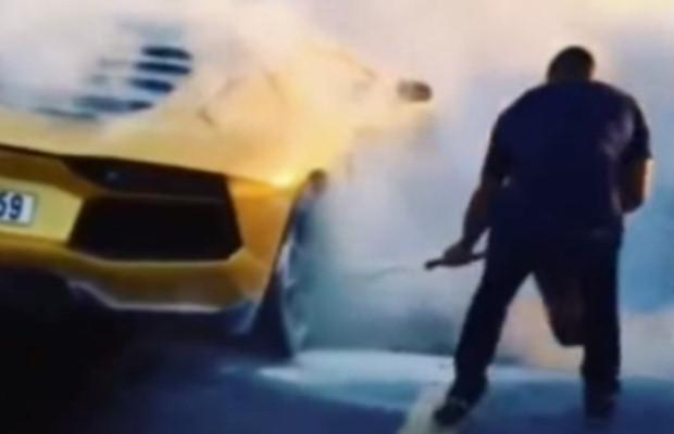 Lamborghini Aventador fire Dubai