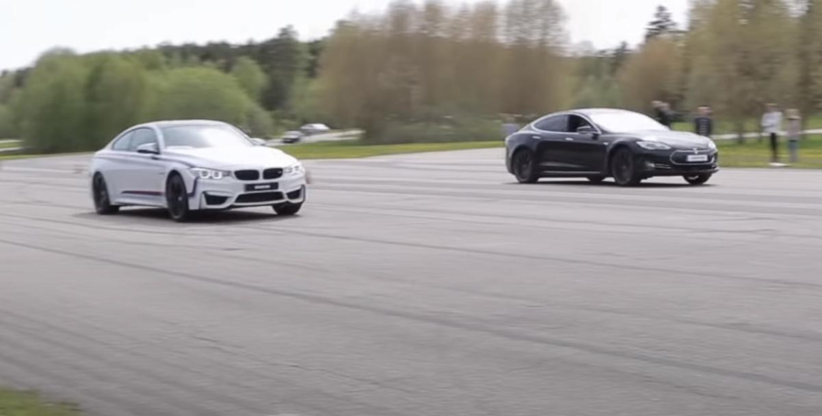 BMW M4 F82 vs Tesla Model S P85D