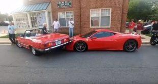 Kobieta przywaliła Mercem w Ferrari 458 Speciale