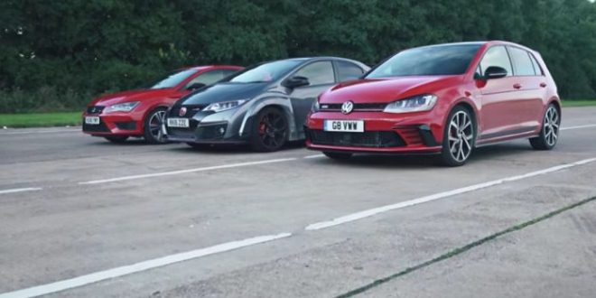 VW Golf GTI Clubsport vs Seat Leon Cupra 290 vs Honda Civic Type R
