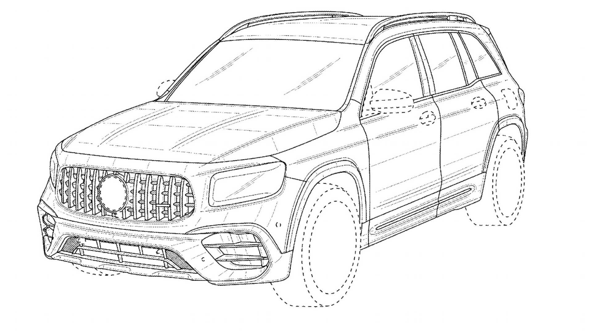 Mercedes-AMG GLB 45 (2021): szkice patentowe