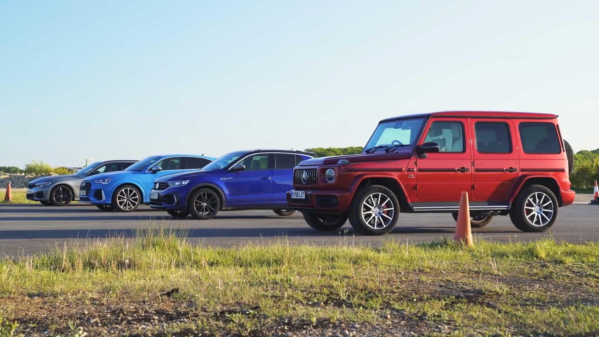 Mercedes-AMG G63 vs. Audi RS Q3 vs. BMW M340i kombi vs. Volkswagen T-Roc R
