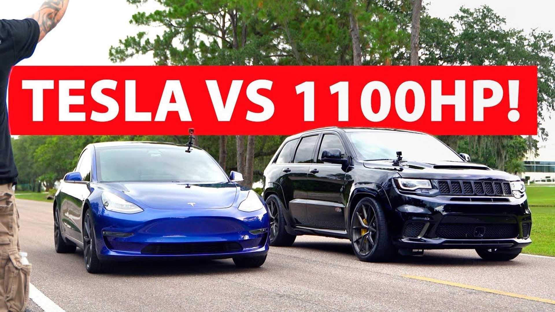 Tesla Model 3 vs. 1100-konny Jeep Trackhawk