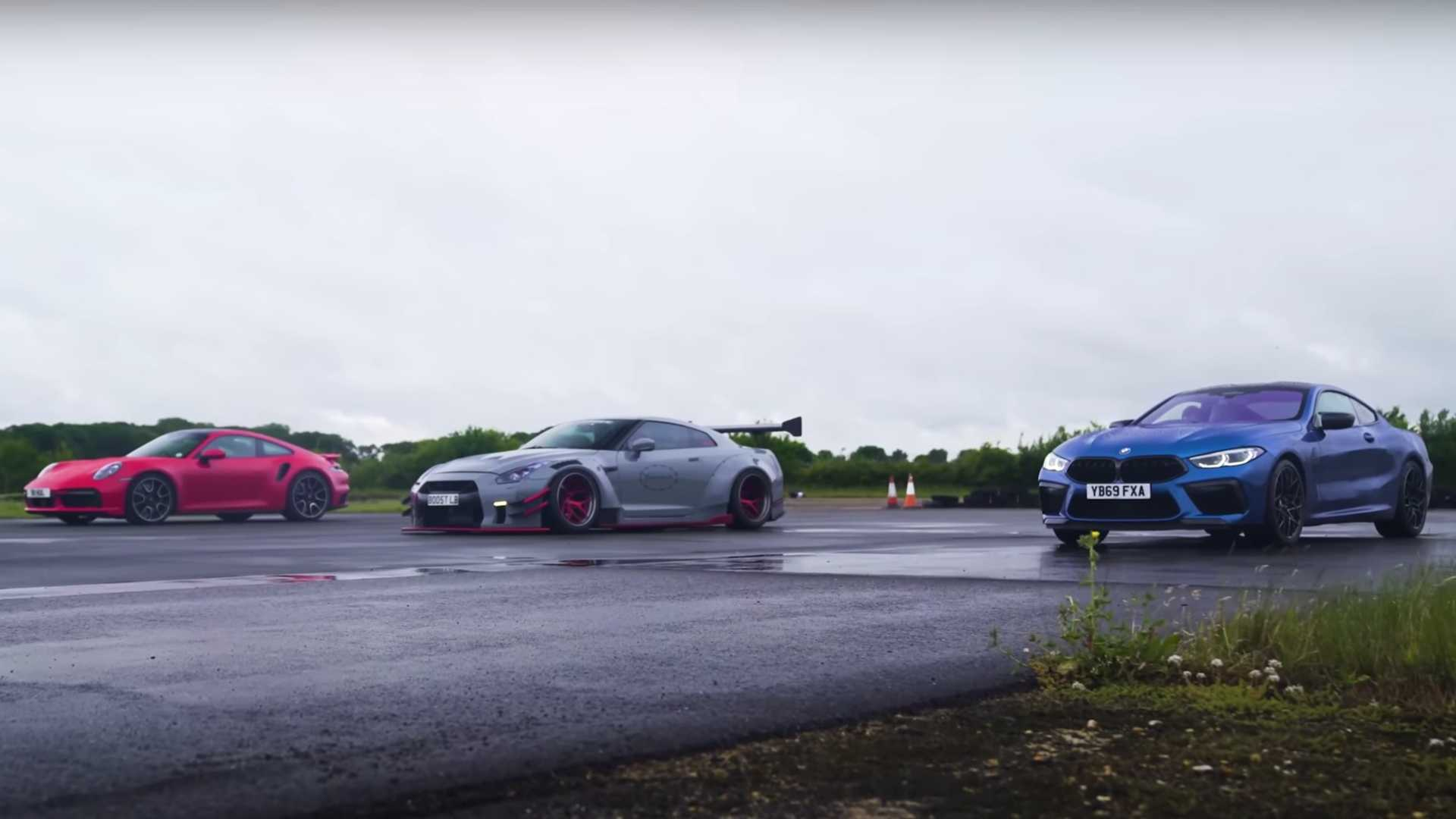 Porsche 911 Turbo S vs. BMW M8 vs. Nissan GT-R