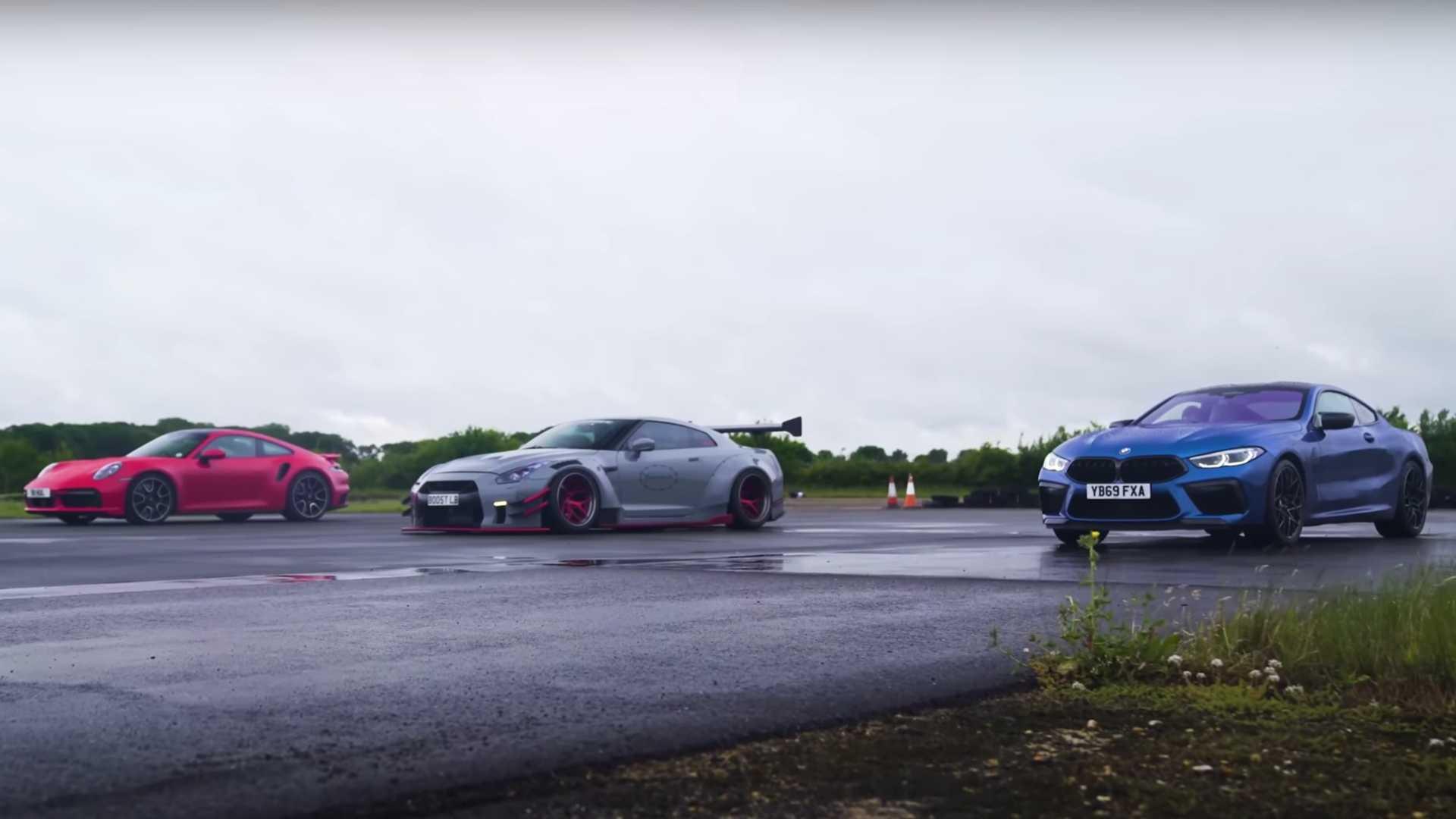 Porsche 911 Turbo S vs. BMW M8 vs. Nissan GT-R