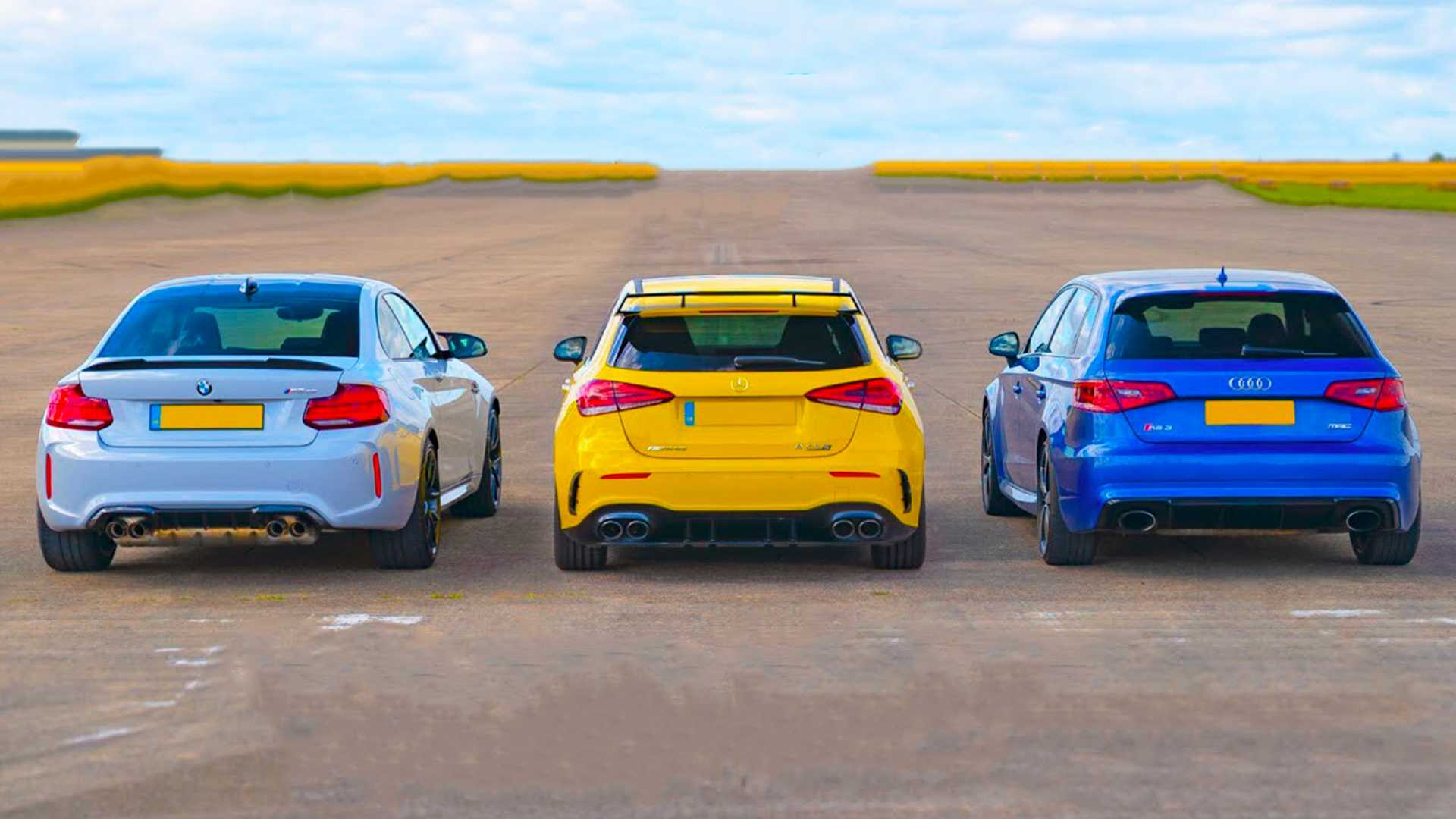 Od lewej: BMW M2 CS, Mercedes-AMG A45 S, Audi RS3