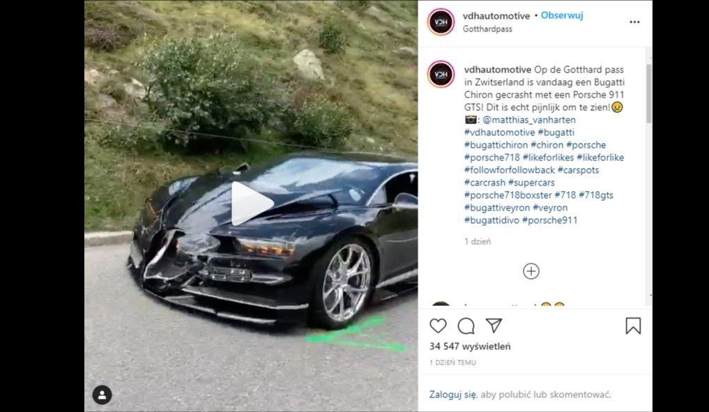 Bugatti Chiron zderzyło się z Porsche 911, kamperem i Mercedesem kombi