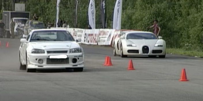 Nissan R34 GT-R vs Bugatti Veyron