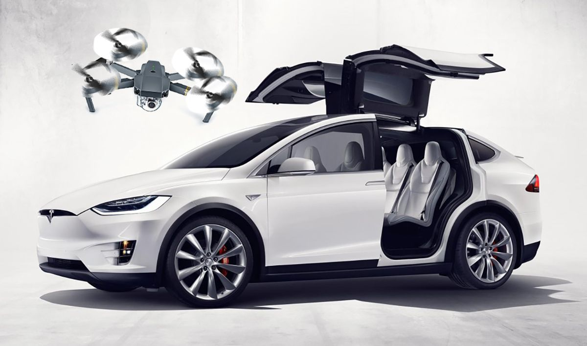 Tesla Model X dron