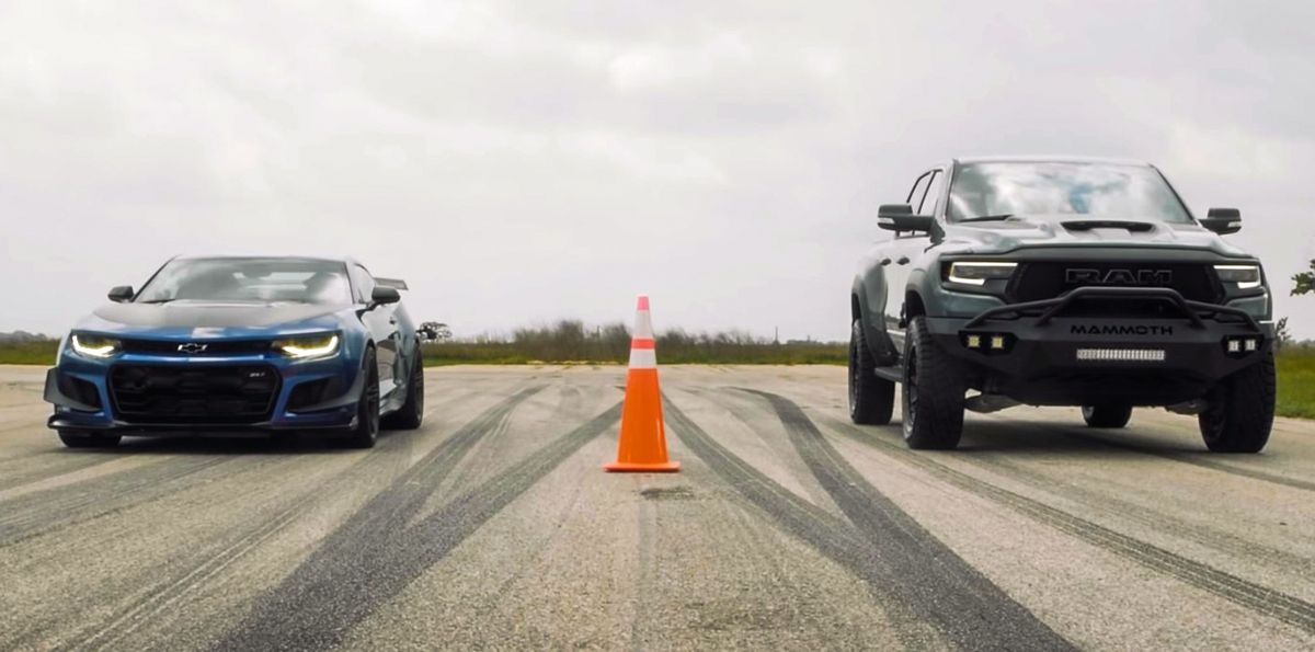 Chevrolet Camaro ZL1 vs Dodge RAM TRX Mammoth Hennessey