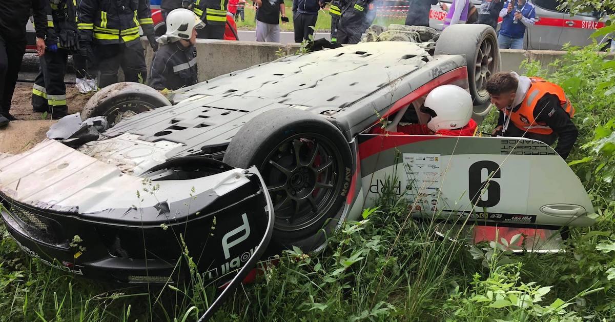 Porsche 911 GSMP wypadek
