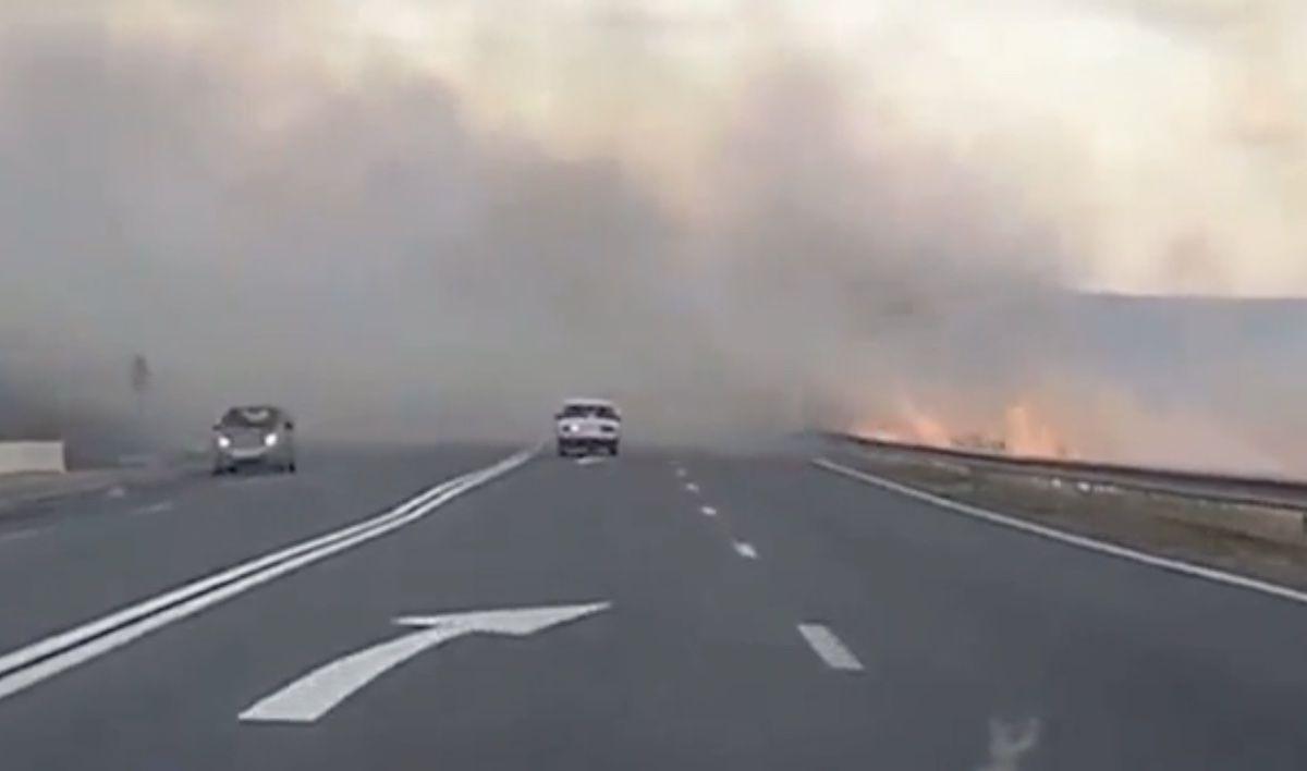 pożar przy drodze