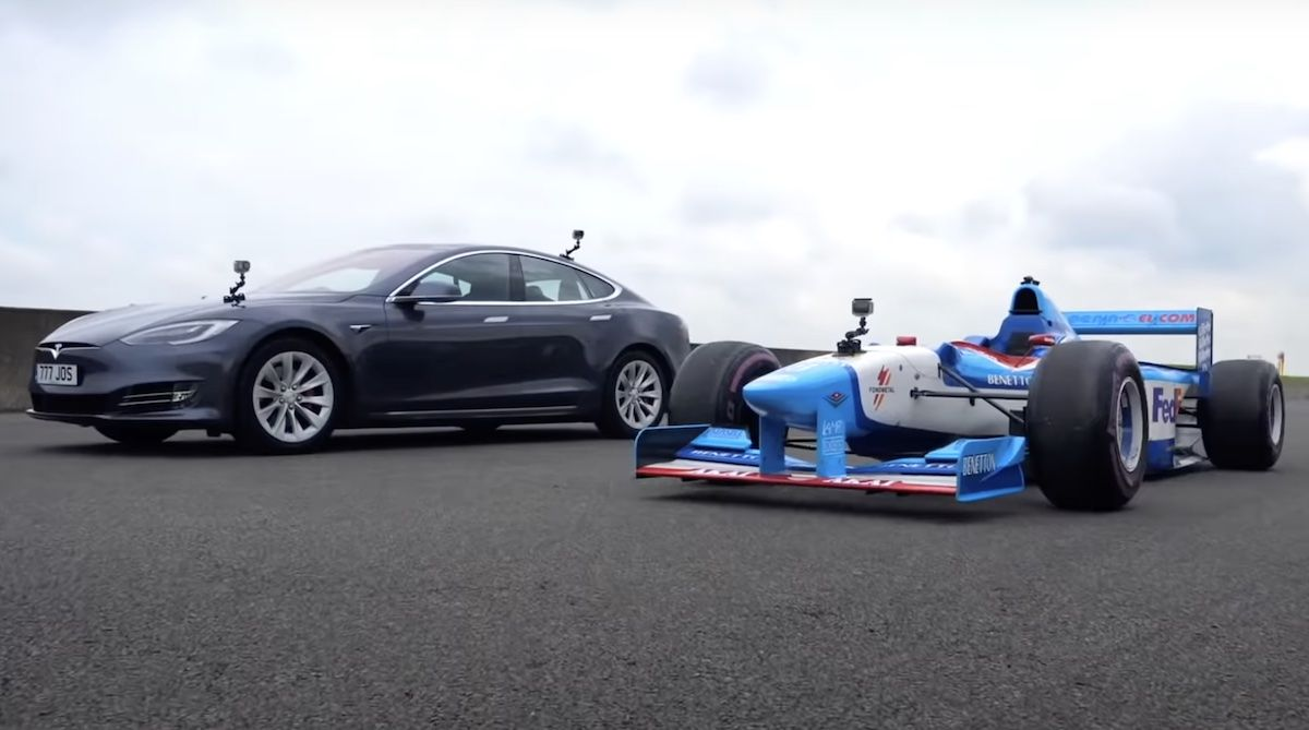 Tesla Model S P100D vs Bolid F1 Benetton